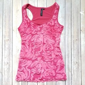 NWOT Absolute Angel pink floral embellished top